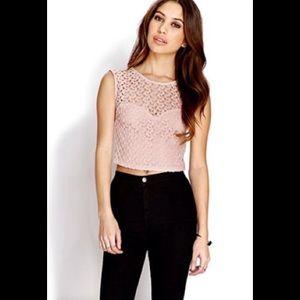 NWT Light Pink / Blush Crochet Crop Top